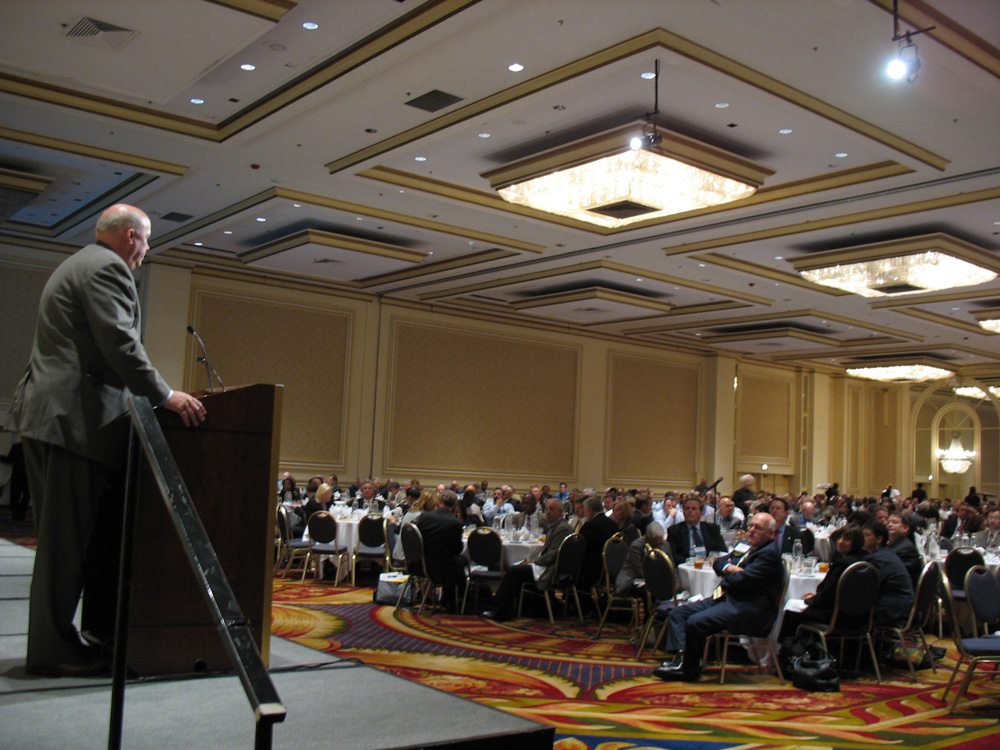 The audience of roughly 800 people listening to Tom at the luncheon session on safety.