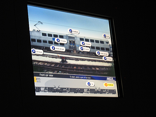 The touch screen that lets you access and examine other parts of the train, simulating a real breakdown on the tracks.