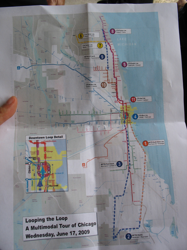 The map of our 6h train tour around Chicago. Click to see it in detail.