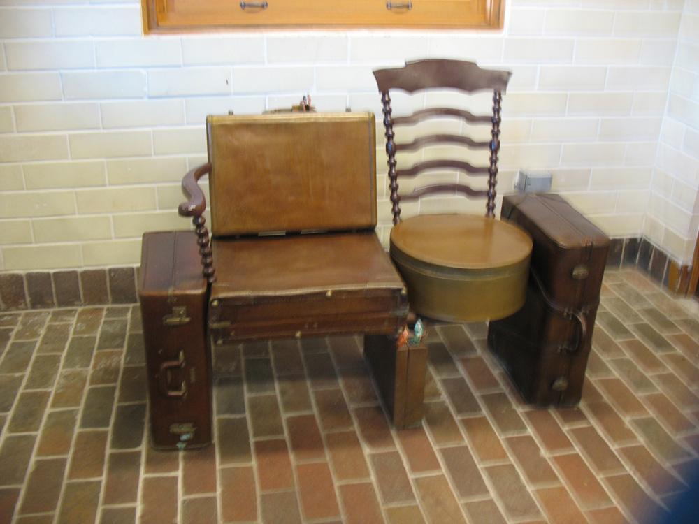 Metal furniture in Damen Station.