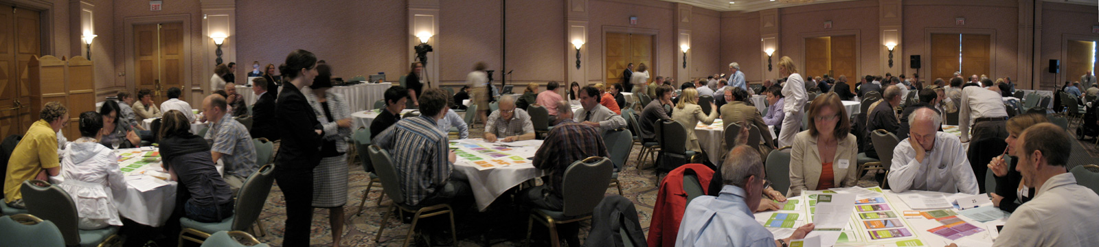 A panorama of the ballroom, while everyone was playing the It's Your Move game. (Click for much larger!)