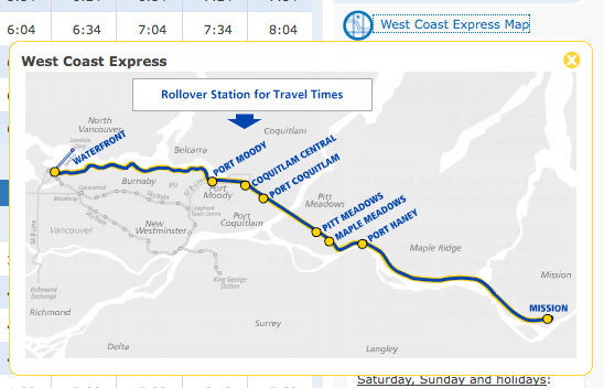 The WestCoast Express map is now on the website!