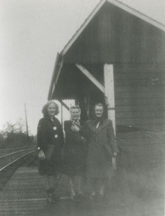 Dolores Dyck, Helen Silvanovicz and Norma Rypdal at the Connaught Hill Interurban tram station on their way to Burnaby South High School, 1944. Item 315-310 from the Centennial Anthology Collection, courtesy of the <a href=http://www.heritageburnaby.com>City of Burnaby Archives</a>.
