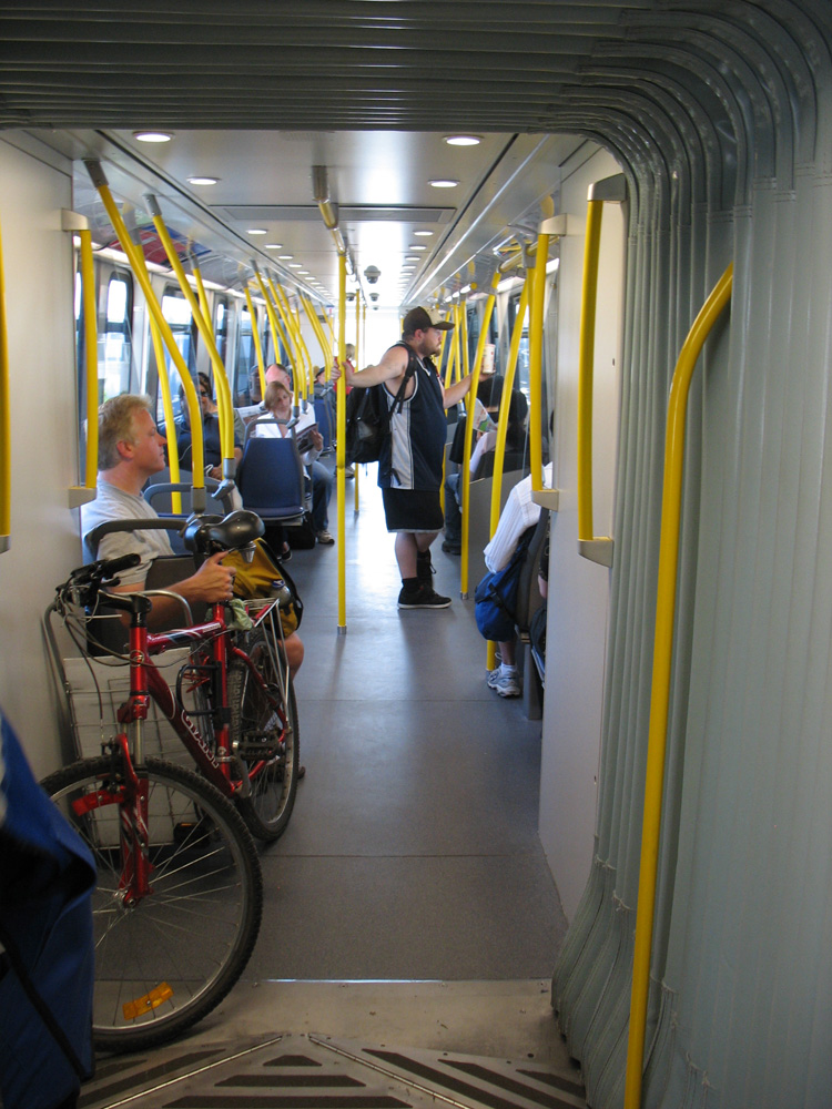 A cyclist brought his bike on board! The new configuration allows much more room for bikes.