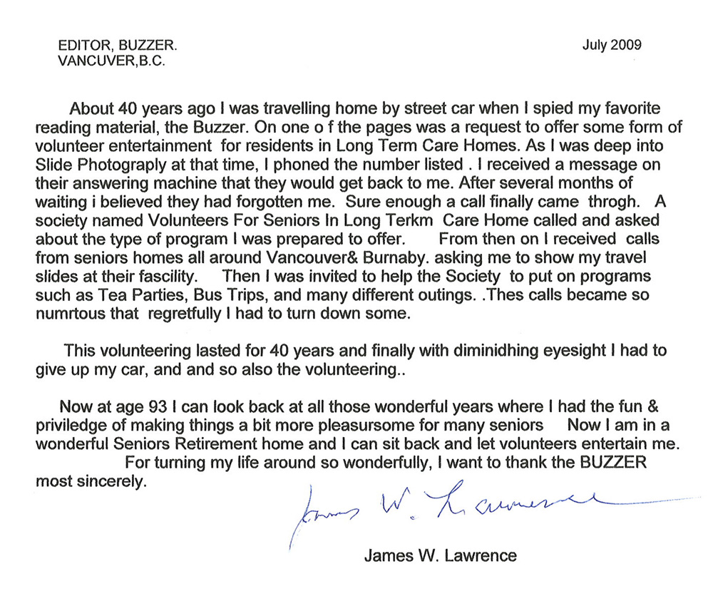 Letter sent by James Lawrence to the Buzzer -- click to read a larger version.