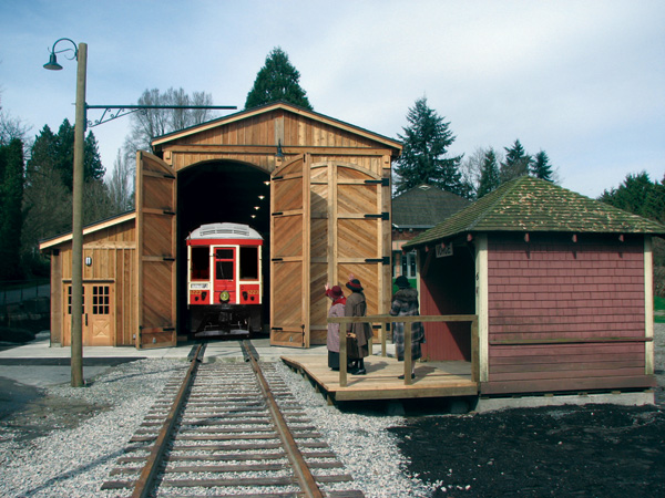 The restored interurban tram at the Burnaby Village Museum!
