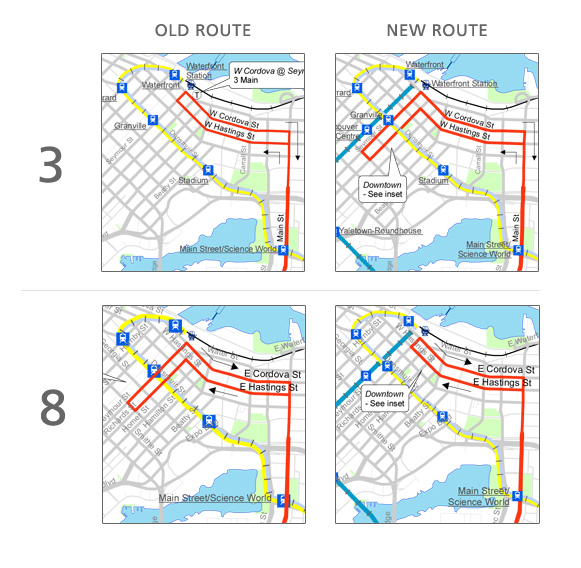 The 3 and 8 will switch downtown routings on September 7.