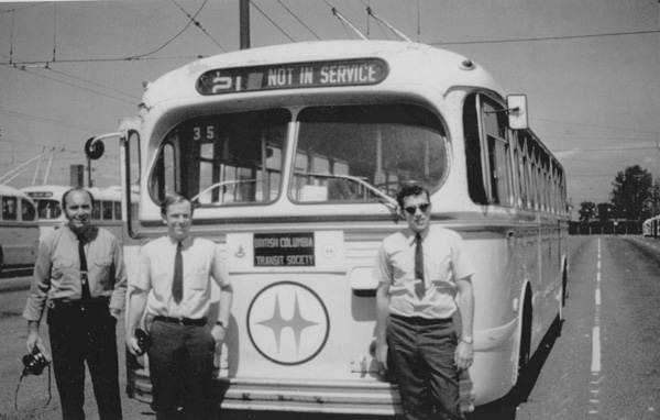 Keith Daubenspeck (Seattle Transit driver), Angus McIntyre and Brian Kelly about to head out for a fan trip with Brill trolleybus 2031 at Oakridge Transit Centre. (Photo by Wally Young circa 1970.)