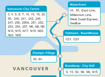 Bus service to four Canada Line stations. Check out the full Canada Line bus connections: try the <a href=http://www.translink.ca/en/Rider-Info/Canada-Line/Transit-Services.aspx#map>interactive map</a> here.