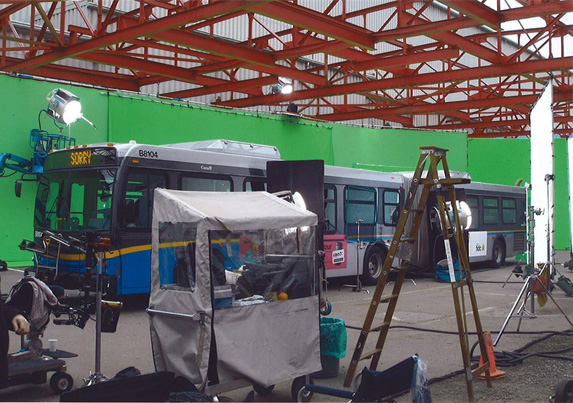 A TransLink articulated bus, all dolled up for its scene in Defying Gravity.
