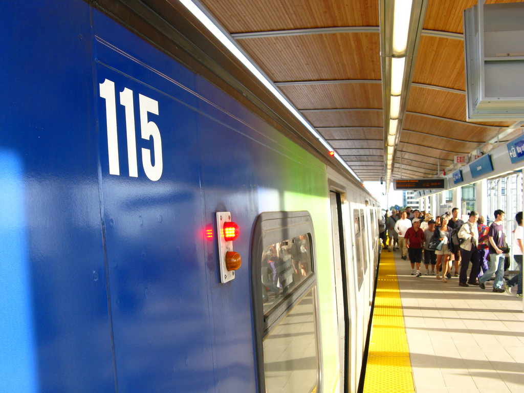 A Canada Line train at Lansdowne Station on opening day. Photo by <a href=http://www.flickr.com/photos/dennistt/>Dennis Tsang</a>.
