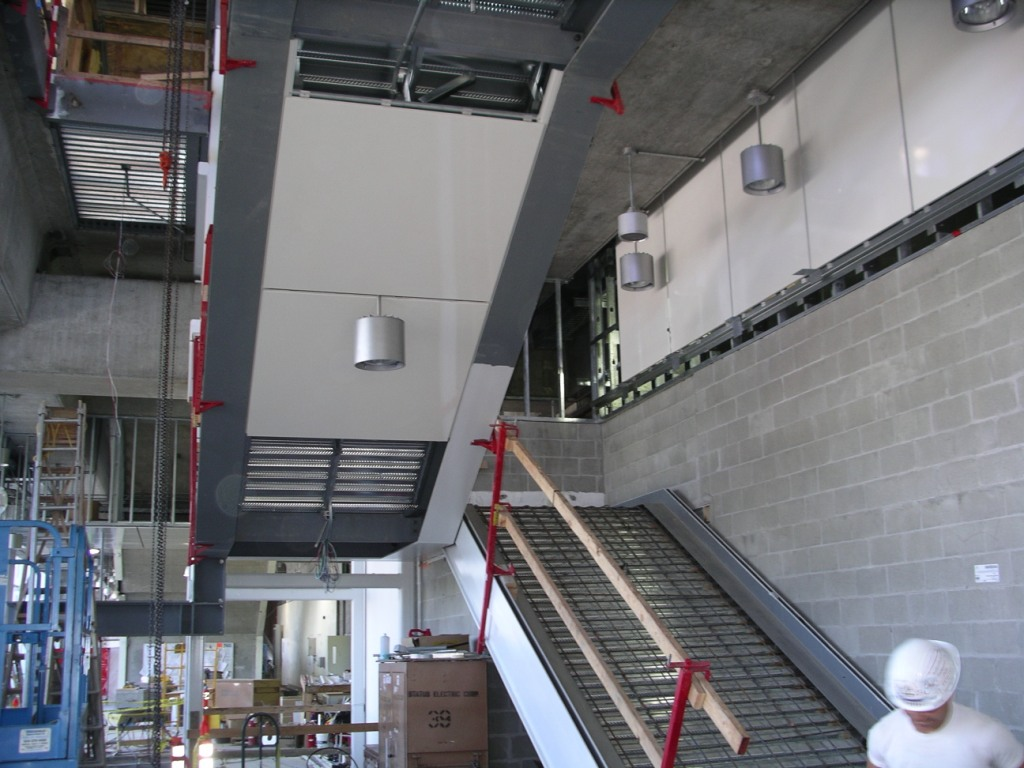 Steel work and framing for the new stairs at the south side entrance was completed in June.
