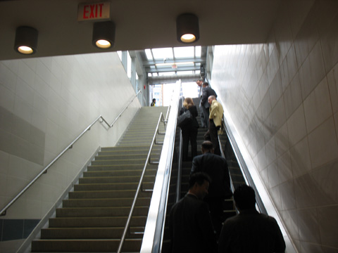 The view up the escalator to the Waterfront Station entrance at Hastings and Granville.