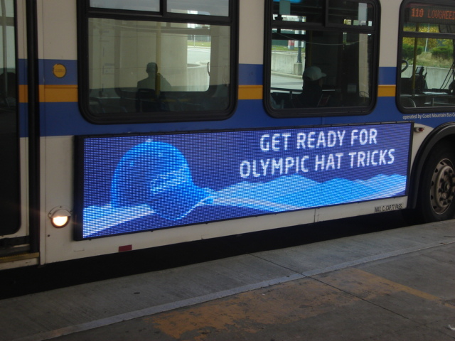 The LED ad screens on 10 Vancouver buses can show animated ads, like this Olympic promotion.