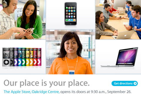 The Apple Store is opening in Oakridge Centre this weekend.