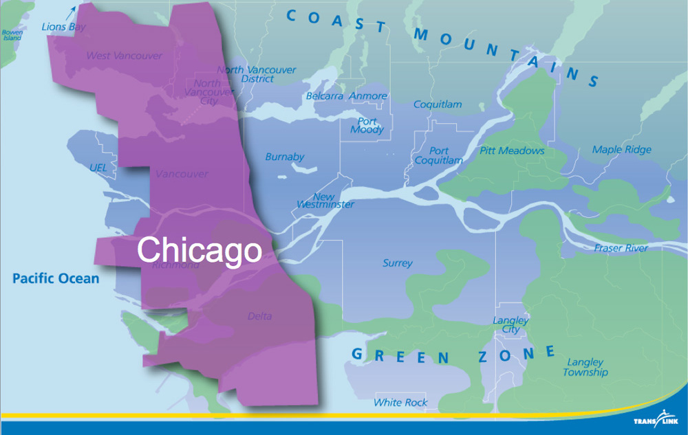 The area of the City of Chicago, superimposed over our service area.