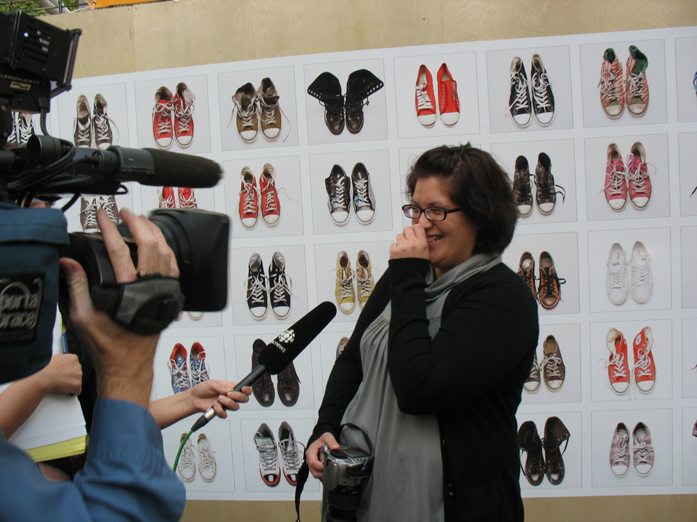 Krista Jahnke being interviewed by CBC about her artwork.