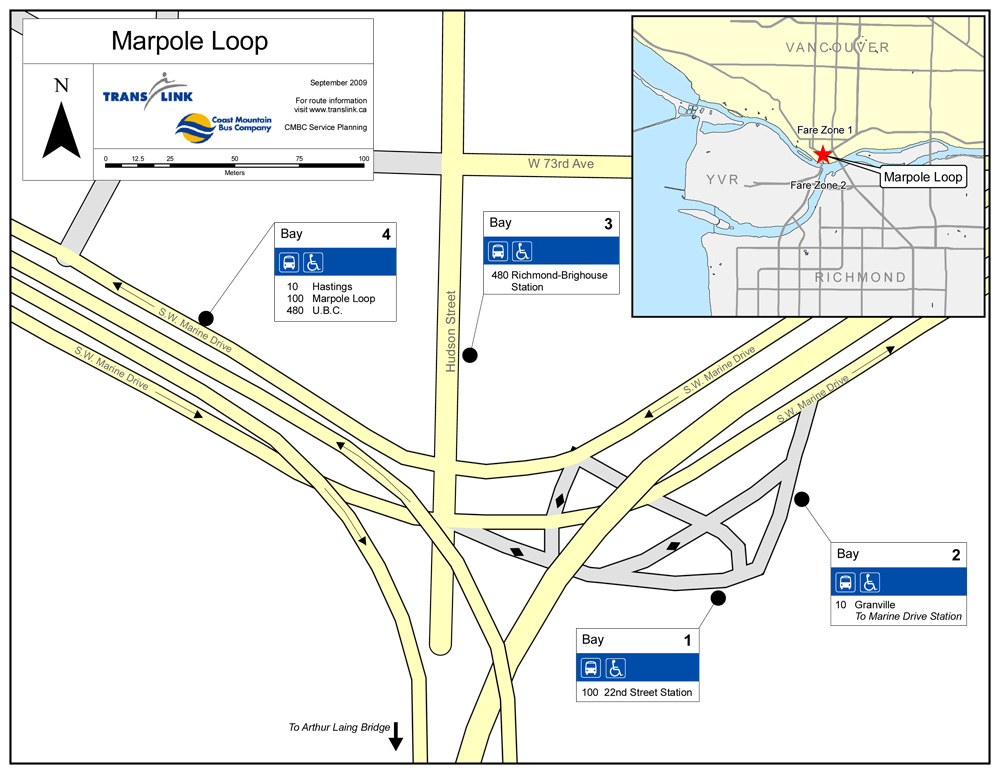 Bus bays 1 and 2 are switching places at Marpole Loop. Here's the revised map! Click for a much larger version.