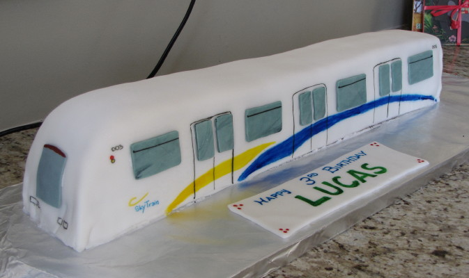 A SkyTrain cake, baked by Paola for her son Lucas!
