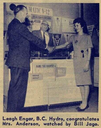 Mrs. Lorraine Anderson, winning her prize in 1962.