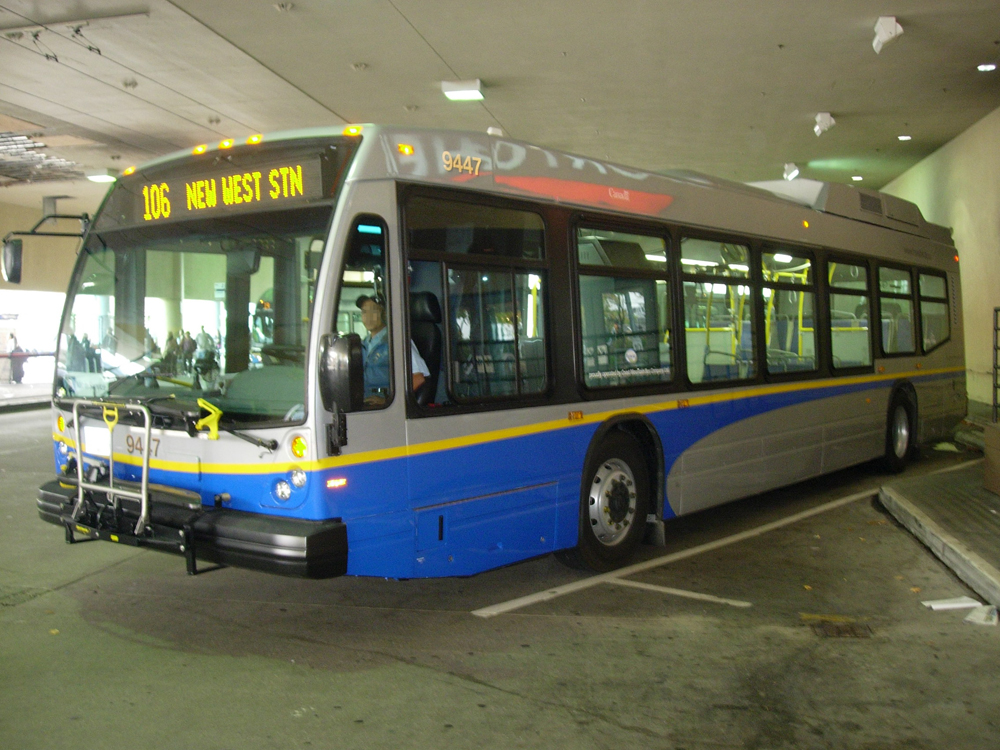 A Nova hybrid on the 130 route, parked at Metrotown Station loop.
