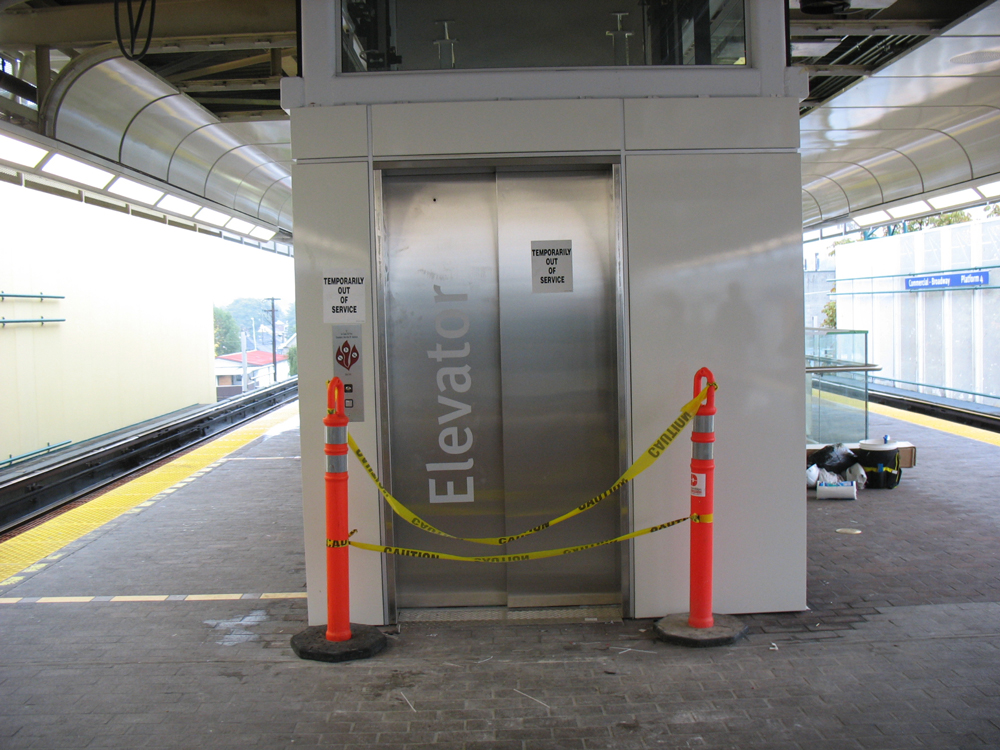 The new elevator for platforms 3 & 4 at Commercial-Broadway Station.