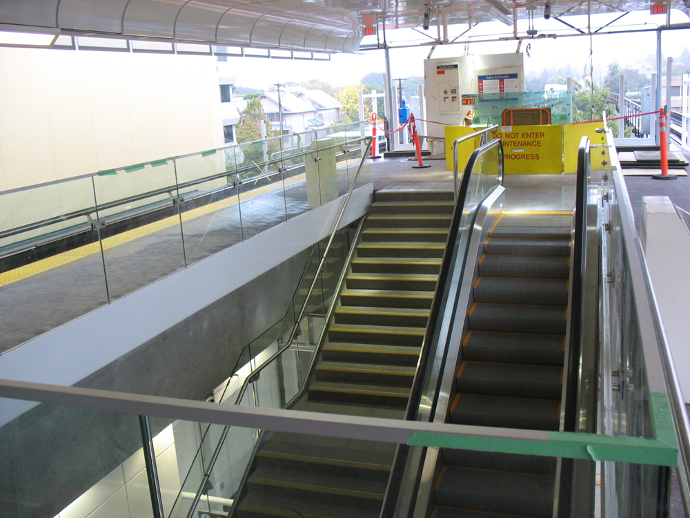 The stairs and escalator as seen from the level of platform 3 & 4.