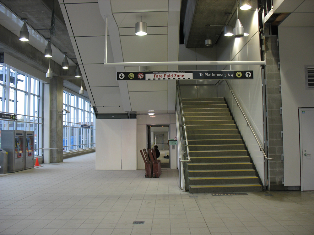 The new stairs and elevator in the 10th Avenue entrance.