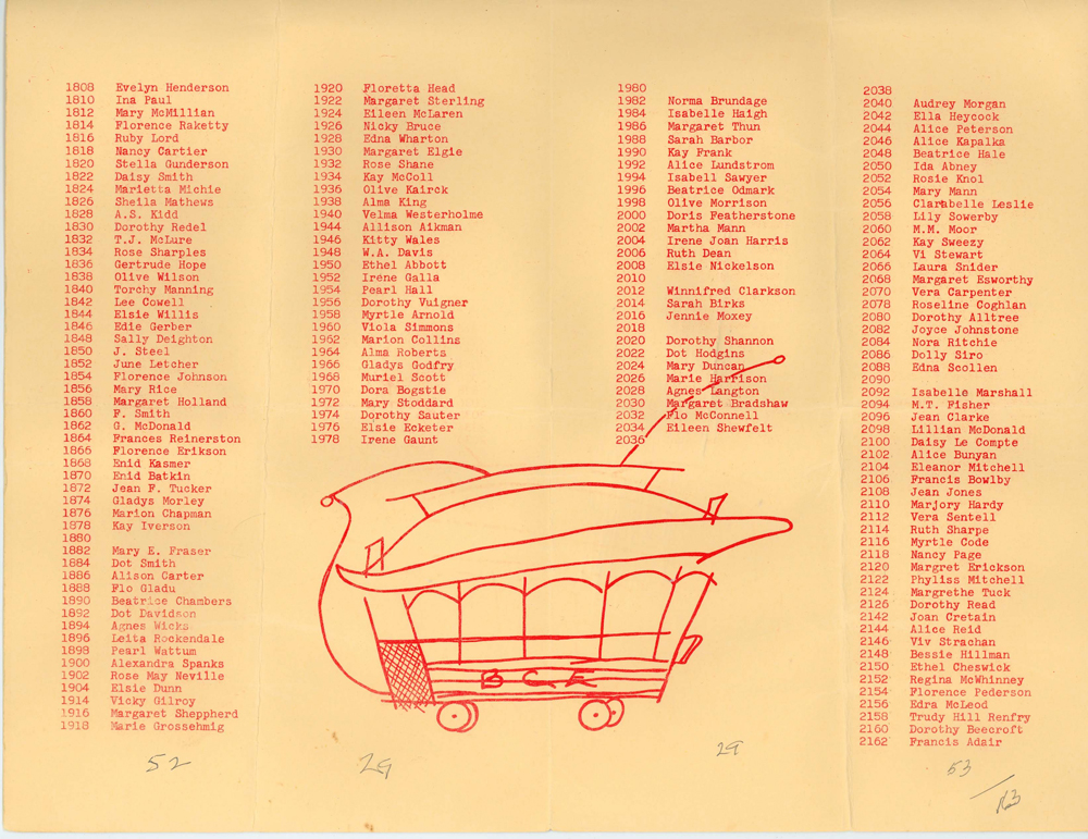 The list of conductorette names from their 1959 reunion. Photo courtesy of the Burnaby Village Museum. Click for a larger version.