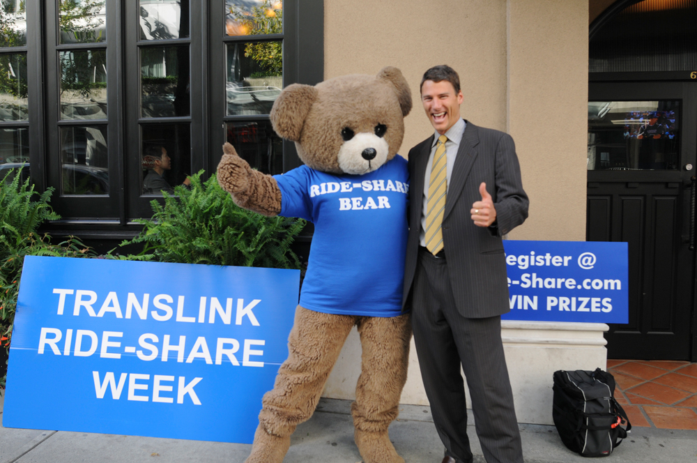 The Ride-Share bear with Vancouver Mayor Gregor Robertson!