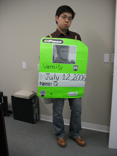 Paul poses in a U-Pass Halloween costume made by one of our planners.