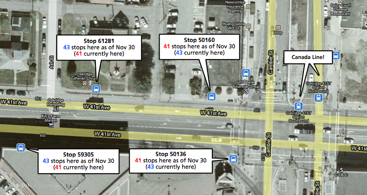The 41 and 43 will switch stops near Oakridge-41st Avenue Station. Click this map for a much larger version!
