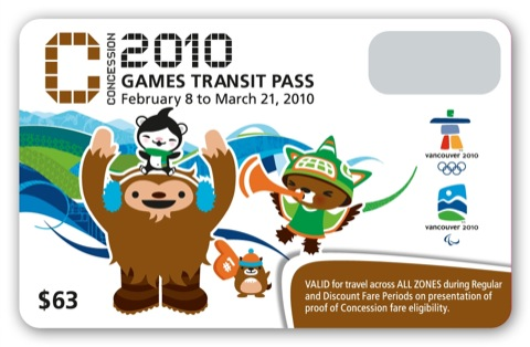 The Concession Olympic FareCard. Hello mascots!
