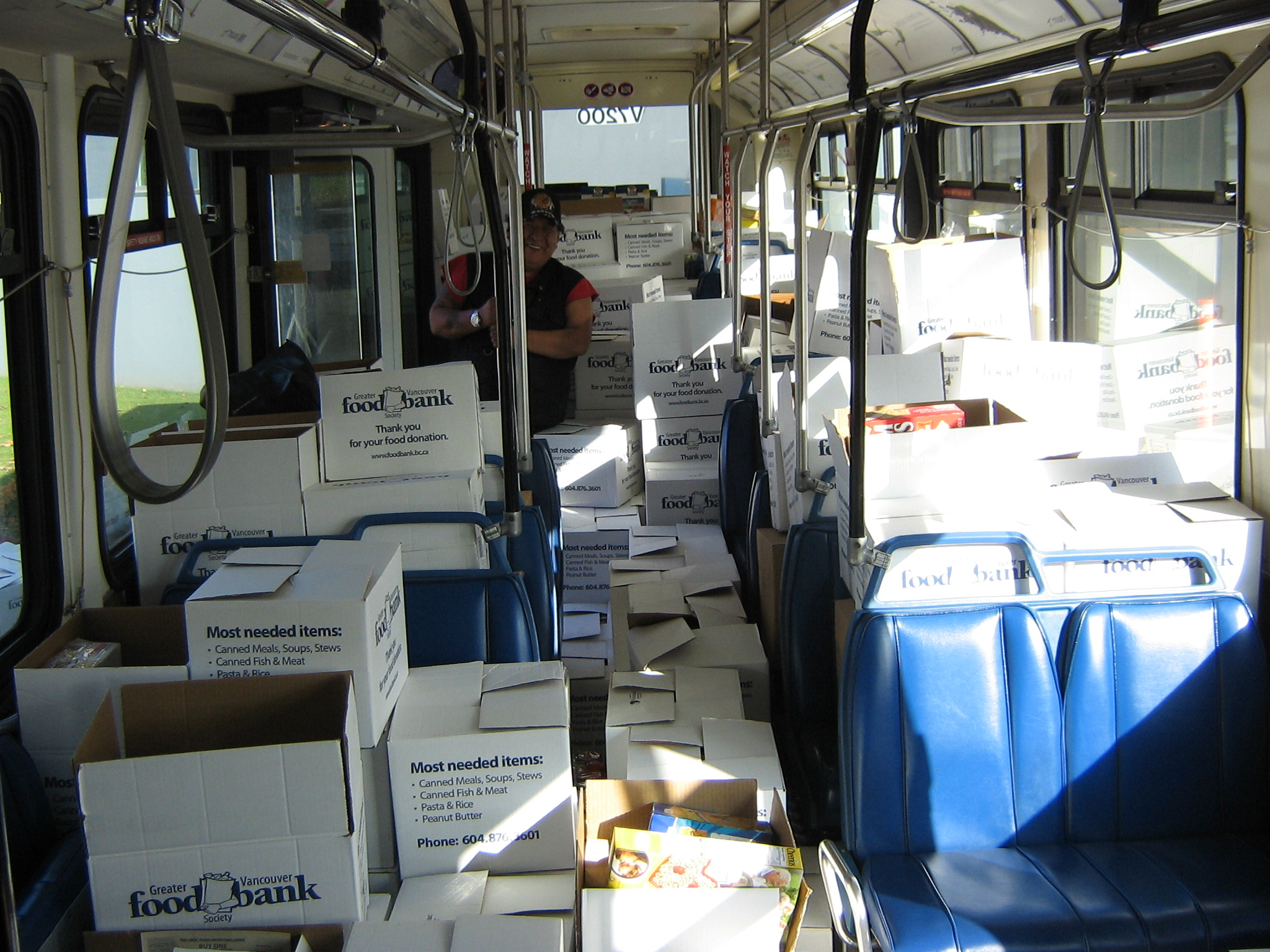 Staff from the Coast Mountain Bus Company donated enough food to fill up a bus for the Greater Vancouver Food Bank.
