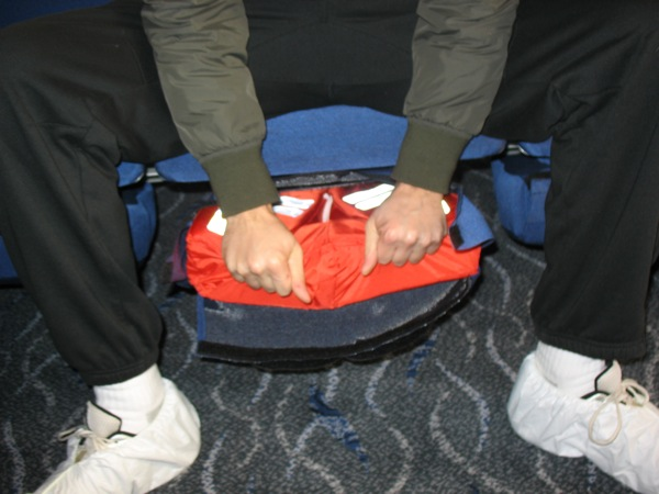 Life vests under the seats!