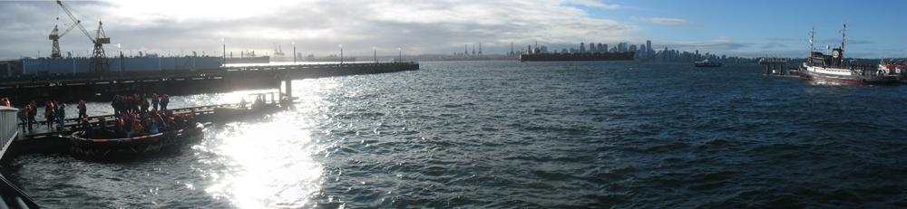 Panoramic of the raft and SeaBus.