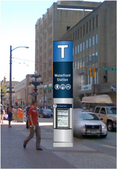 Artist's rendering of alternate T markers to be posted near some stations. This is not the finalized location for this sign!