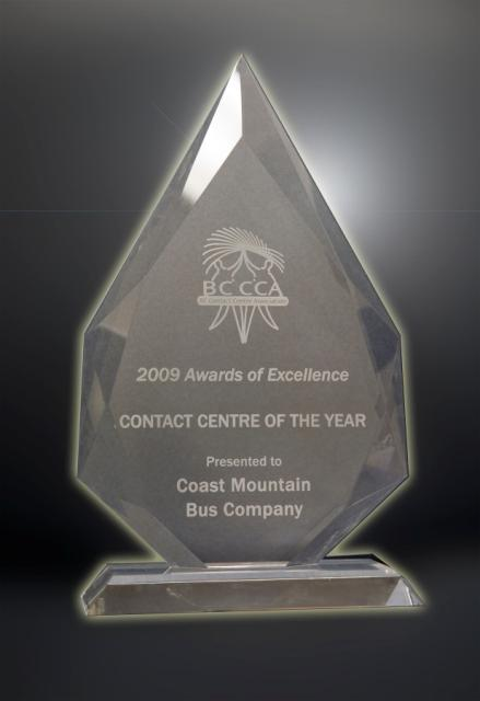 The trophy for Call Centre of the Year!