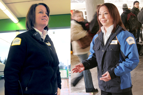 SkyTrain attendants wear a blue jacket or a black sweater. In warmer weather, they may wear a black vest or a white shirt with the SkyTrain logo.