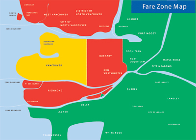 Fare zones in Metro Vancouver. Click for a larger image.