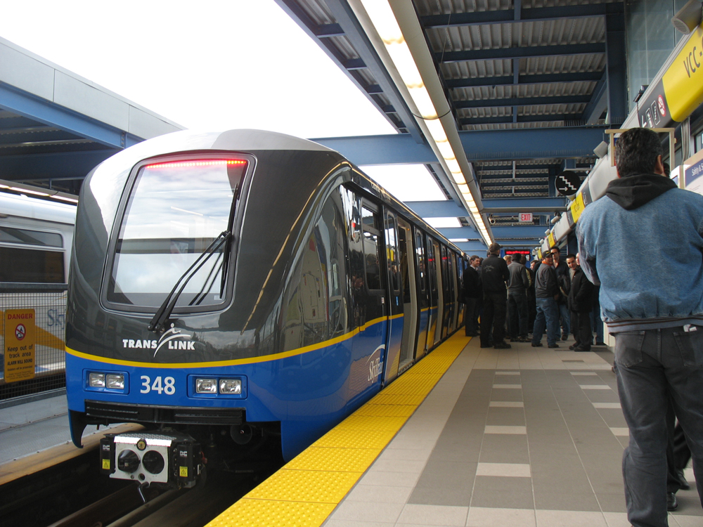 Car 348! The other half is car 347. This is the last car to arrive in our order of 48 new SkyTrain cars from Bombardier.