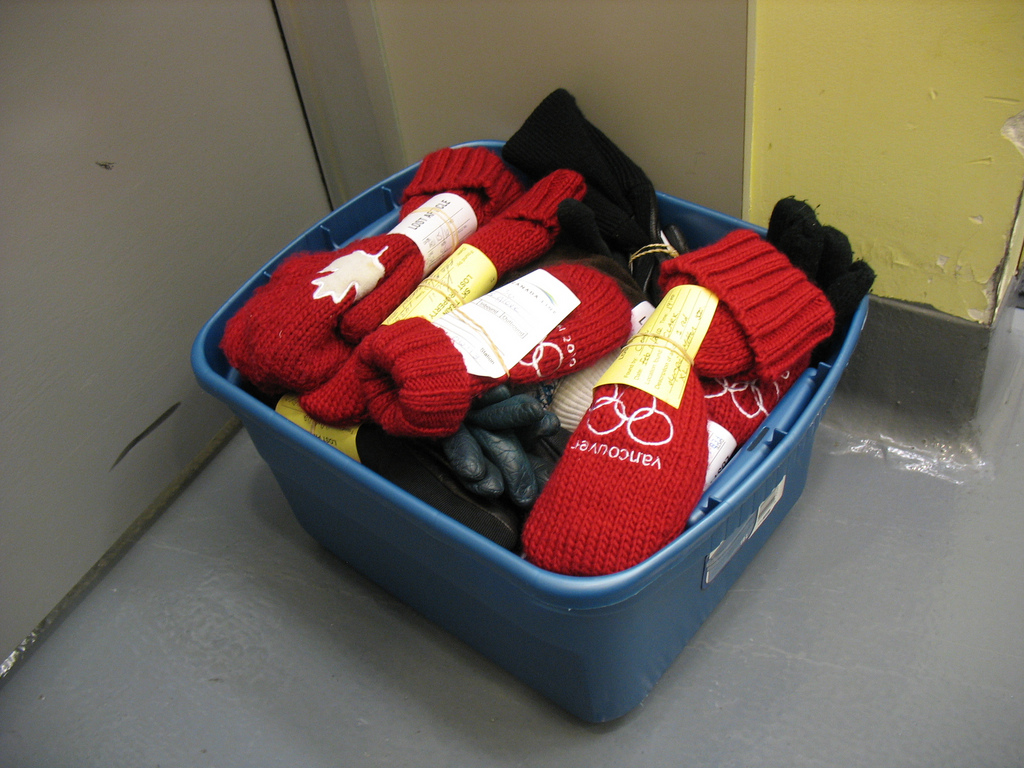 A box of single mittens found on transit. How sad!