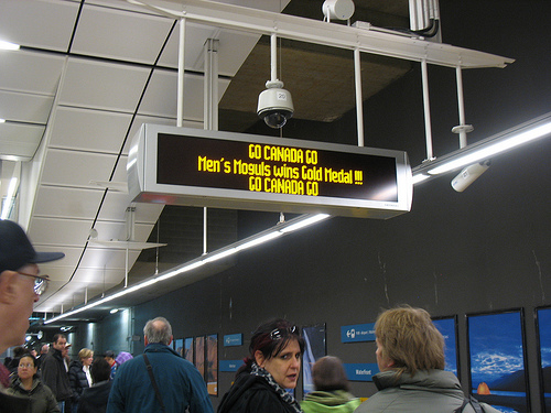 The Canada Line LED displays were cheering on Alex Bilodeau's gold medal in moguls!