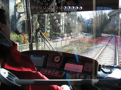 The view over Matthew's shoulder as he drives the streetcar.