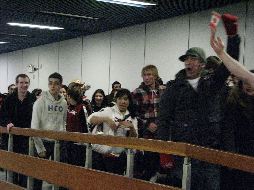 Passengers were cheering as they lined up for the SeaBus.