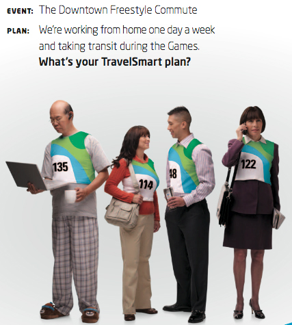 A detail from one of our TravelSmart posters, encouraging people to try alternatives for their commute.