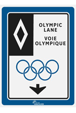 An Olympic lane sign from vancouver.ca. Olympic lanes are only <u>one lane of traffic</a> -- cars can use the remaining lanes on the street.