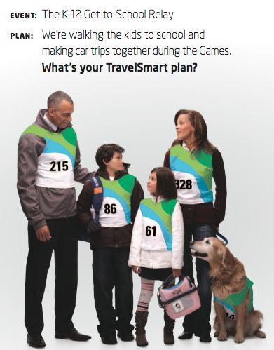 Detail from a TravelSmart poster encouraging families to try travel alternatives to get to school.