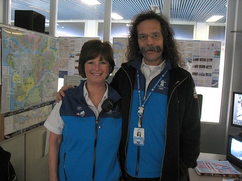 Marine attendants Debbie and Doug at the south SeaBus terminal at Waterfront.
