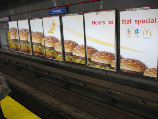 McDonalds ads at Burrard Station.